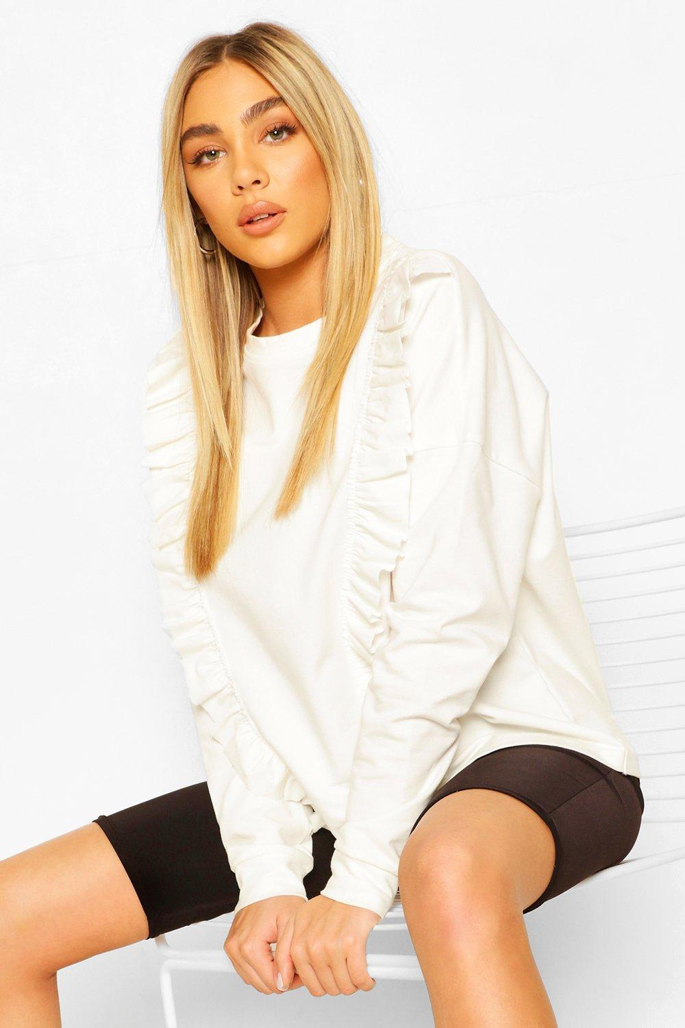 boohoo Womens Frill Trim Jumper - White - 12, White