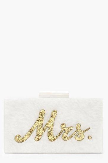 Gold Premium Mrs. Box Clutch Bag & Chain