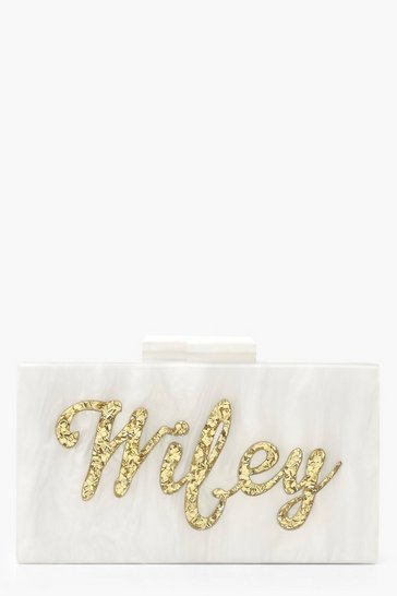 Gold Premium Wifey Box Clutch Bag & Chain