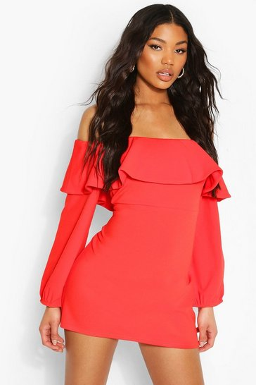 Orange Off The Shoulder Puffball Shift Dress
