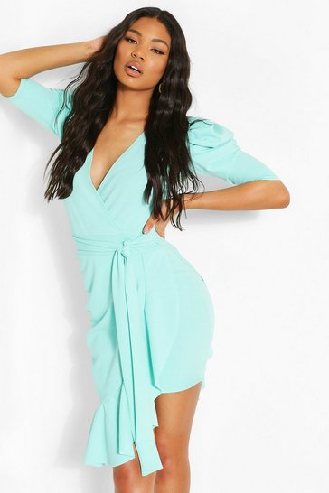 Aqua Extreme Puff Sleeve Tie Waist Wrap Dress