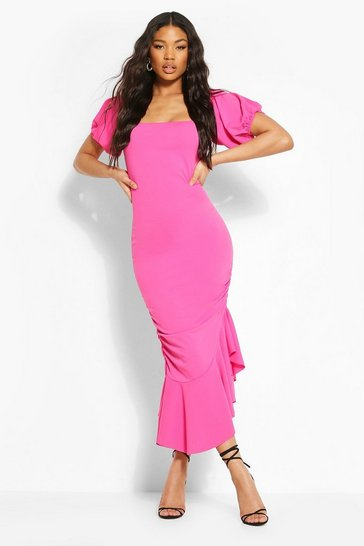 Hot pink Off The Shoulder Puff Sleeve Midi Dress