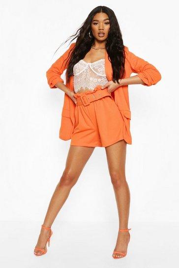 Orange Tailored Paper Bag Belted Shorts