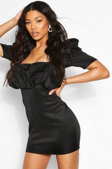 Black Recycled Puff Sleeve Scrunched Mini Dress