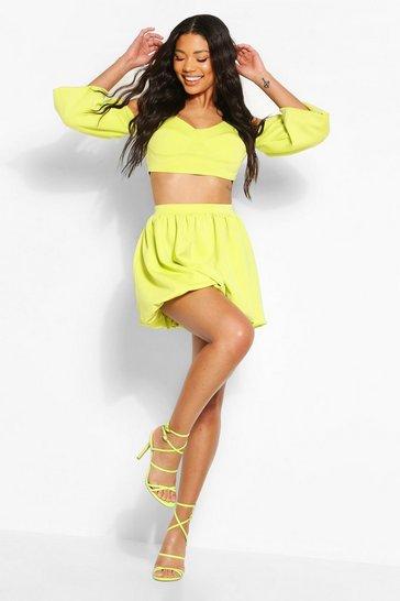 Lime Scuba Puff Ball Mini Skirt
