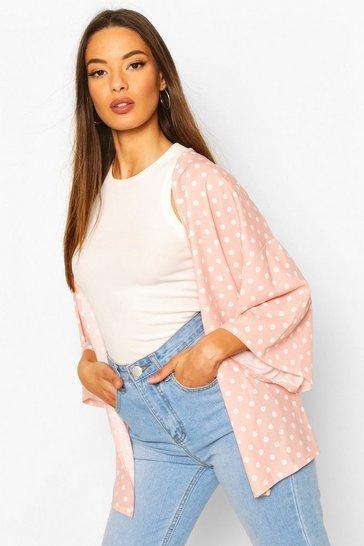 Dusky pink Polka Dot Kimono