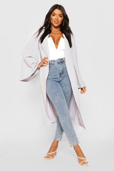 Grey Wide Sleeve Kimono
