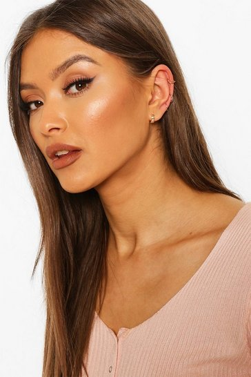 Gold Star & Wishbone Ear Cuff 4 Pack