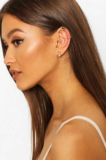 Gold Scallop Diamante Ear Cuff 3 Pack