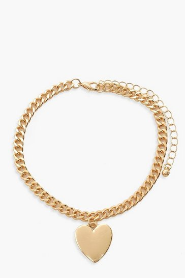 Gold Heart Charm Anklet