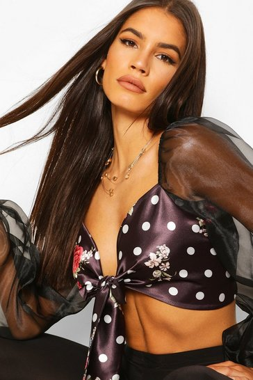 Black Floral & Spot Satin Organza Crop Top