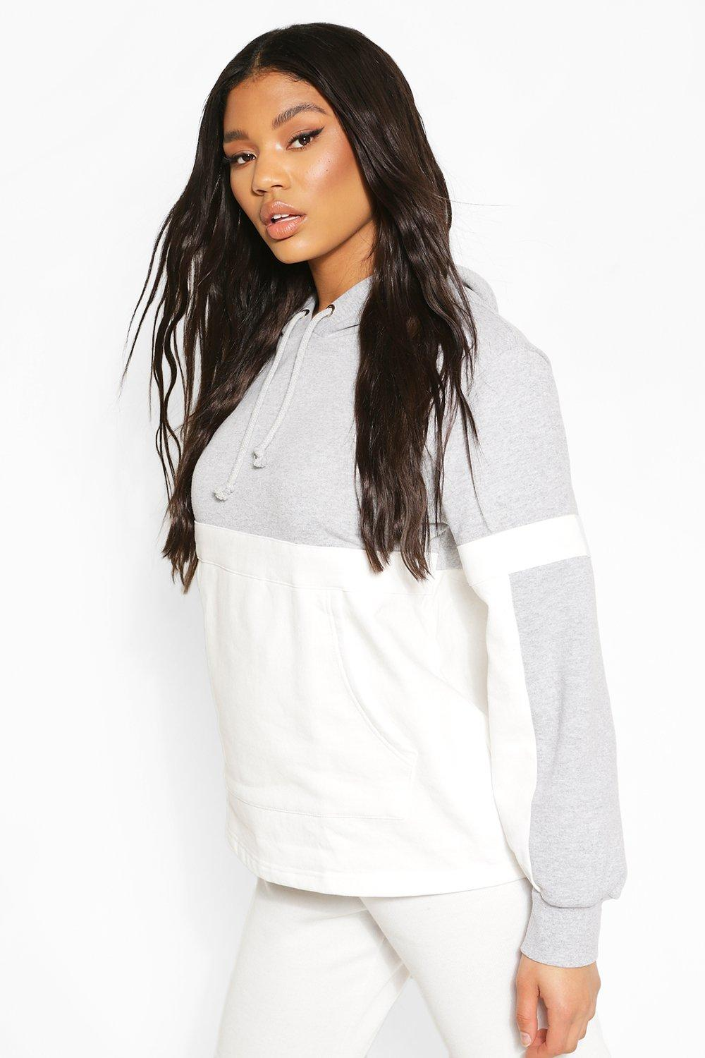 boohoo Womens Colour Block Side Panel Hoody - Grey - 14, Grey