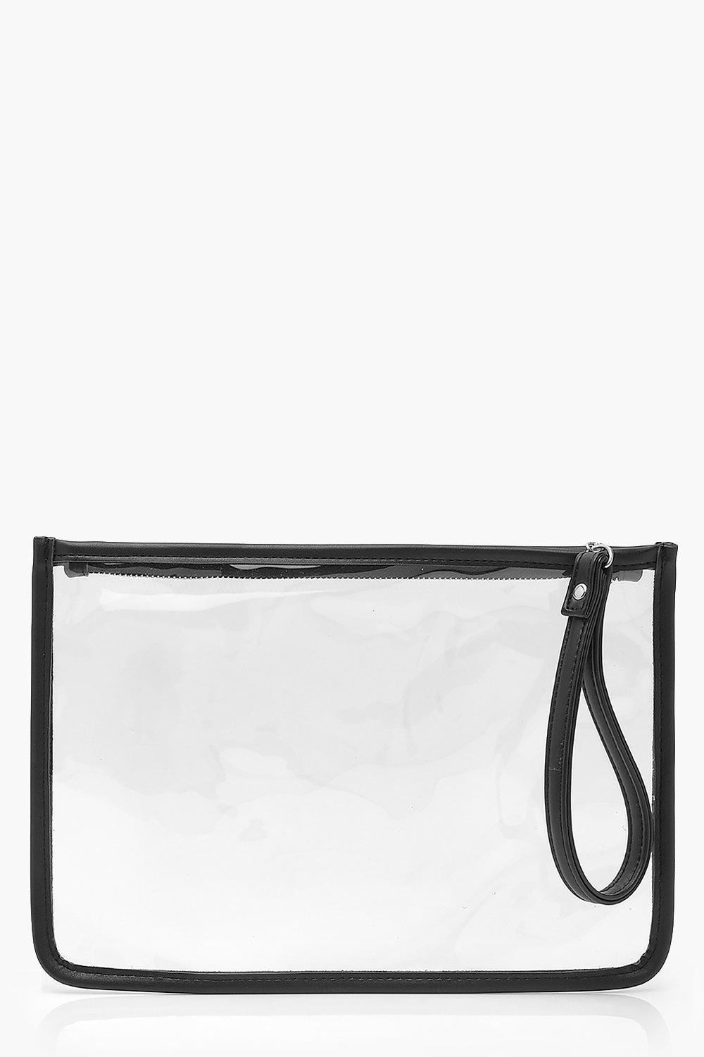 boohoo Womens Pu Clear Zip Top Travel Pouch With Handle - Black - One Size, Black