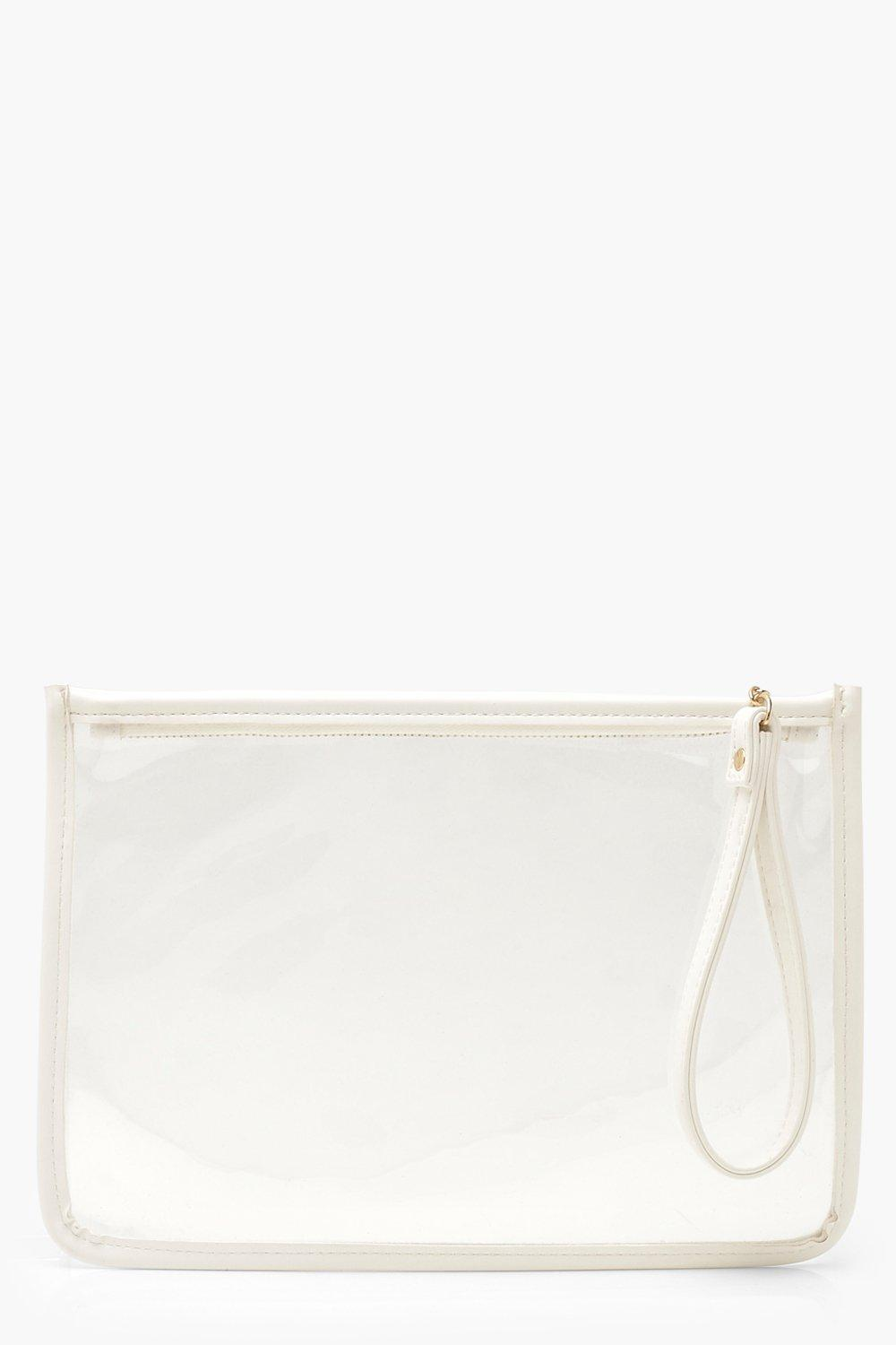 boohoo Womens Pu Clear Zip Top Travel Pouch With Handle - White - One Size, White