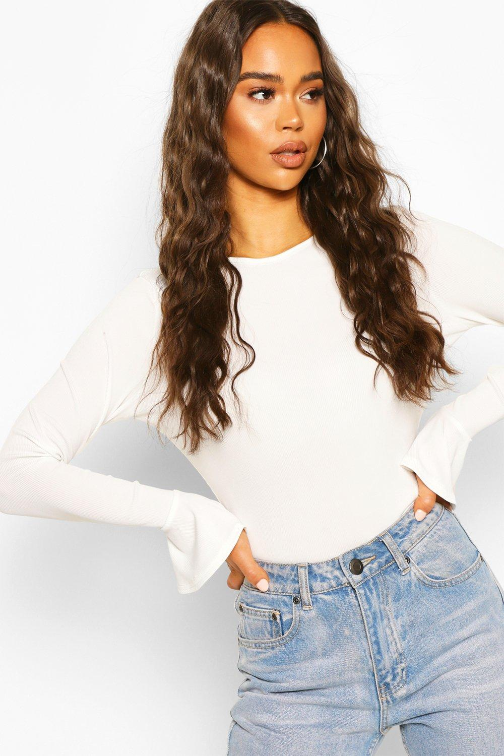 boohoo Womens Rib Frill Cuff Long Sleeve Top - White - 16, White