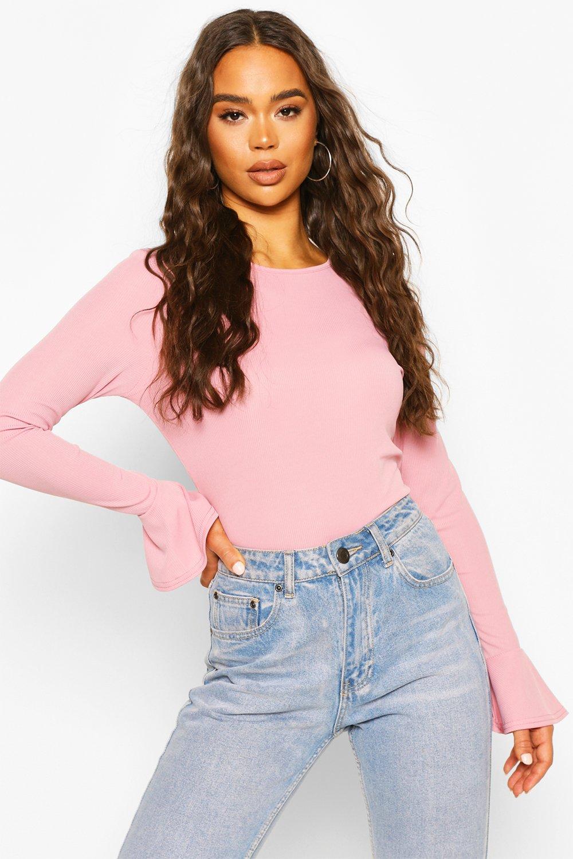 boohoo Womens Rib Frill Cuff Long Sleeve Top - Pink - 10, Pink