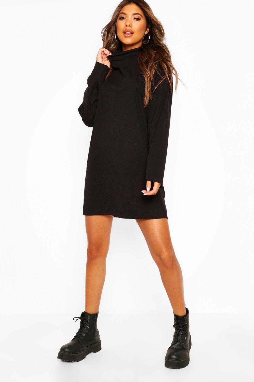 boohoo Womens Ruched Neck T-Shirt Dress - Black - 16, Black
