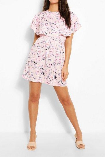 Pink Floral Print Cape Skater Dress
