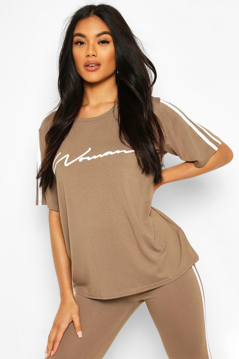 boohoo Womens Side Stripe Woman T-Shirt - Beige - 14, Beige