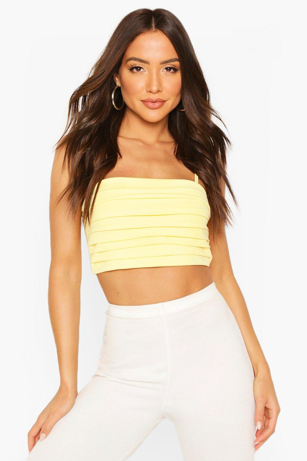 boohoo Womens Pleated Square Neck Strappy Crop Top - Yellow - 14, Yellow