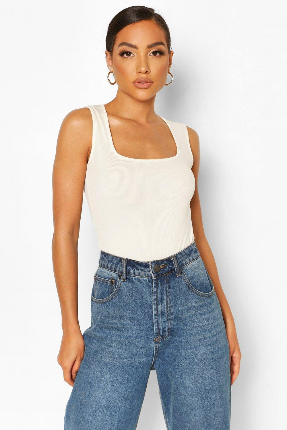 boohoo Womens Rib Scoop Neck Bodysuit - Cream - 6, Cream