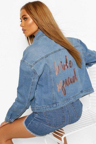 Mid blue Bride's Squad Slogan Denim Jacket