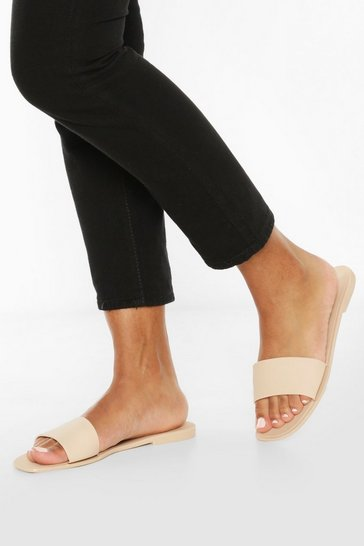 Nude Jelly Square Toe Sliders