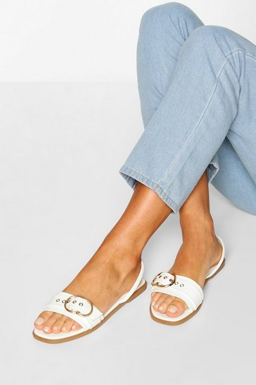White Buckle Trim Sling Back Sandals