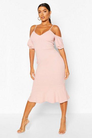 Blush Cold Shoulder Puff Sleeve Peplum Hem Midi Dress