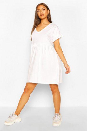 White V Neck Frill Sleeve Smock Dress