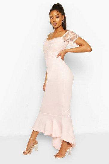 Soft pink Lace Bardot Fishtail Maxi Dress