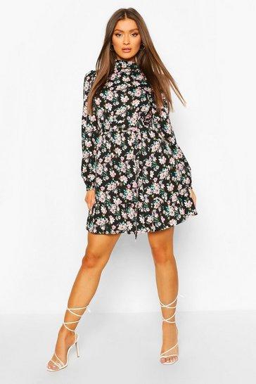 Black Ruffle Neck Floral Belted Skater Dress