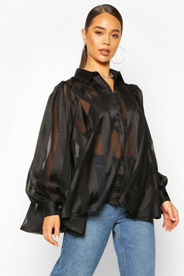 Mocha Satin Stripe Oversized Blouse