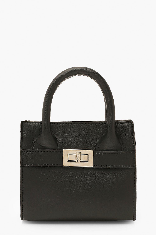 boohoo Womens Smooth Pu Lock Detail Bag & Chain - Black - One Size, Black