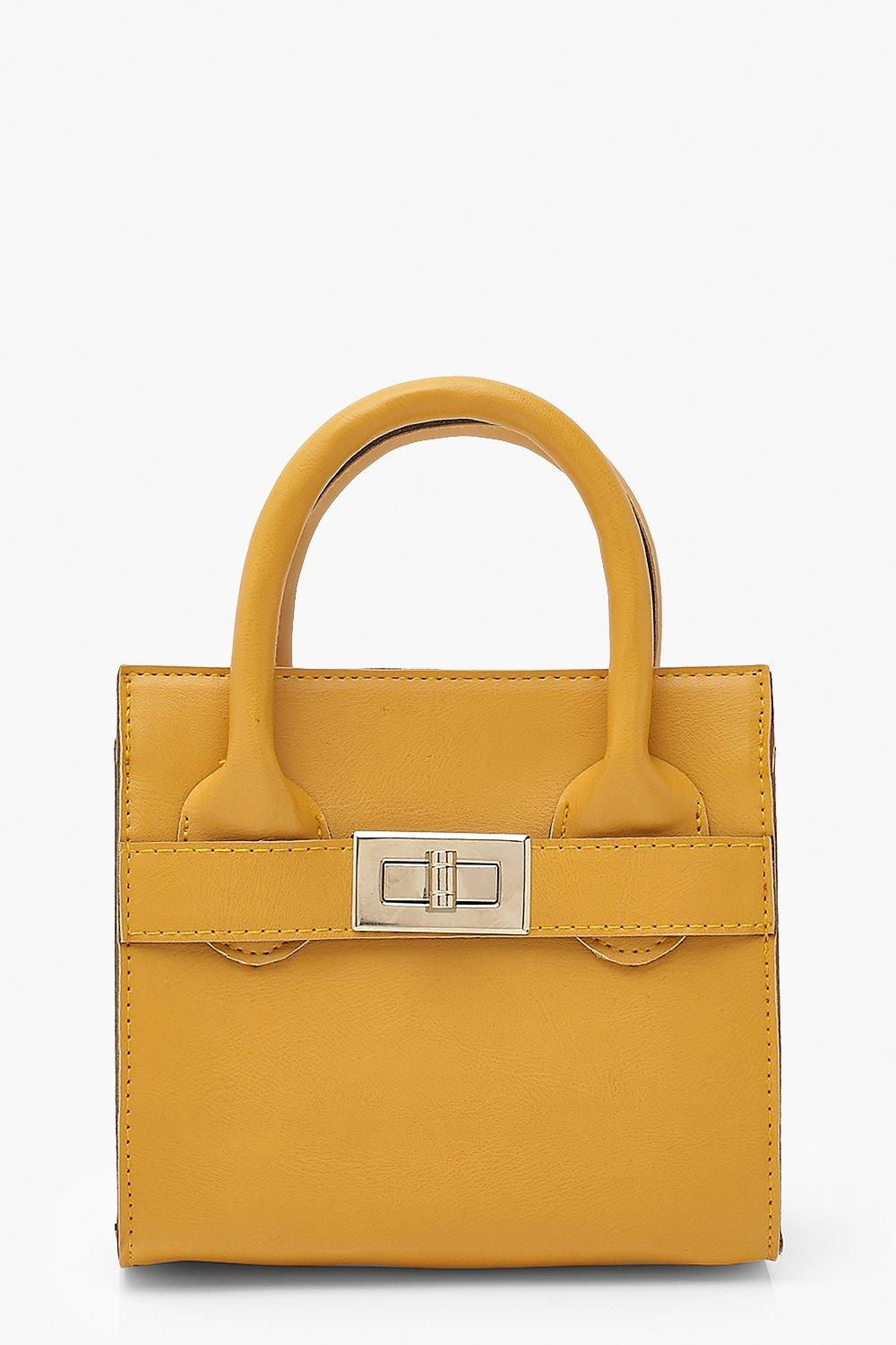 boohoo Womens Smooth Pu Lock Detail Bag & Chain - Yellow - One Size, Yellow