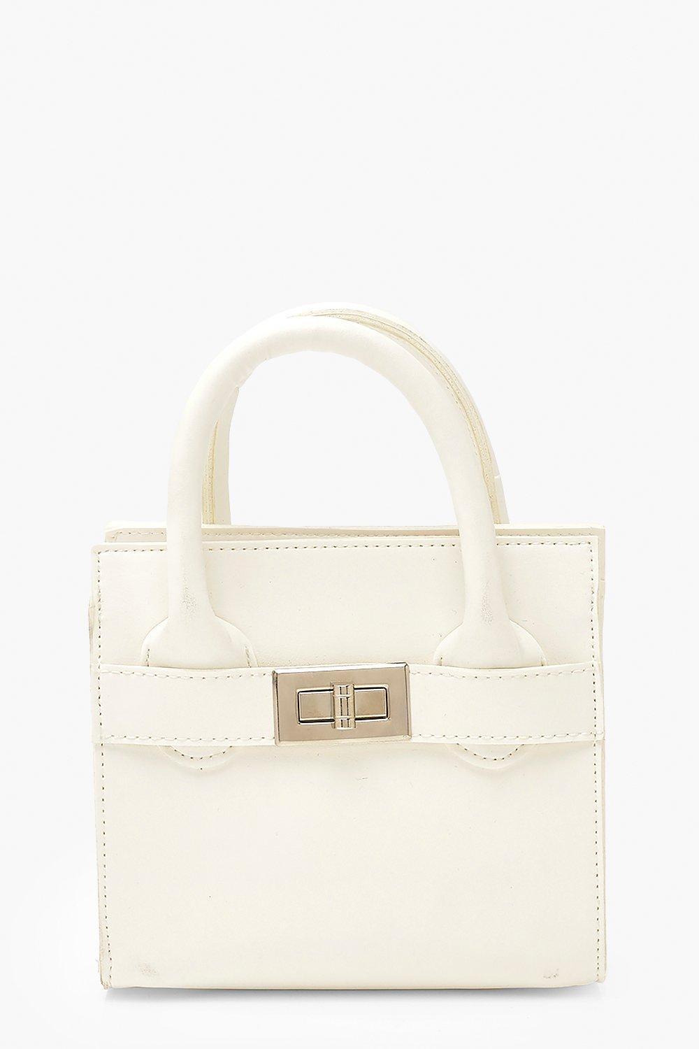 boohoo Womens Smooth Pu Lock Detail Bag & Chain - White - One Size, White