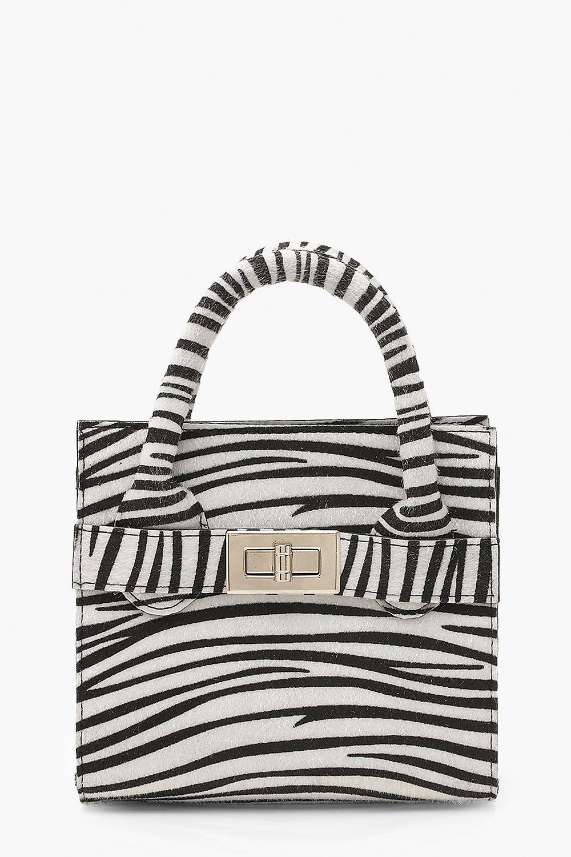 boohoo Womens Zebra Pu Lock Detail Bag & Chain - Black - One Size, Black
