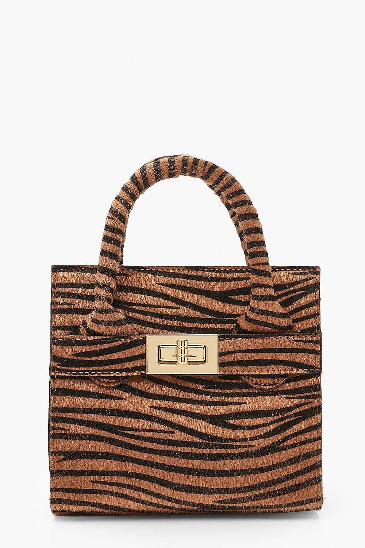 boohoo Womens Zebra Pu Lock Detail Bag & Chain - Beige - One Size, Beige