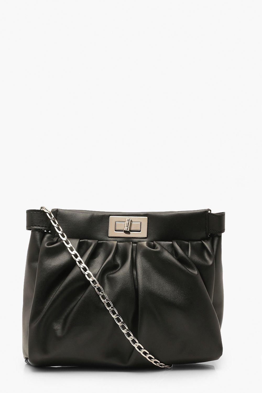 boohoo Womens Pu Lock Detail Gathered Bag & Chain - Black - One Size, Black