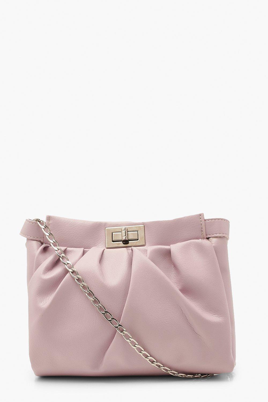 boohoo Womens Pu Lock Detail Gathered Bag & Chain - Purple - One Size, Purple