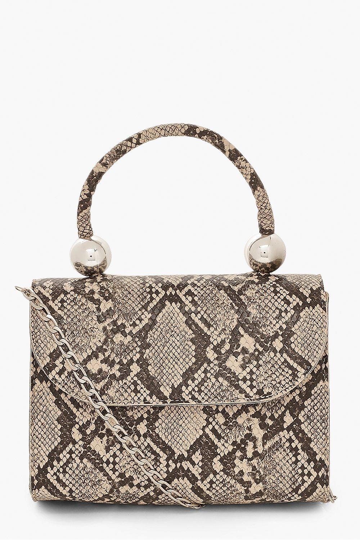 boohoo Womens Snake Pu Structured Handle Bag & Chain - Beige - One Size, Beige