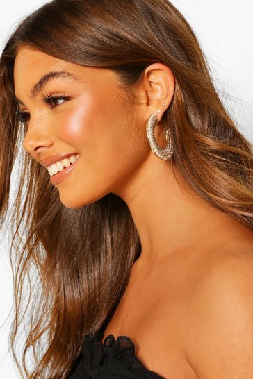 Gold Statement Pearl Hoop Earrings