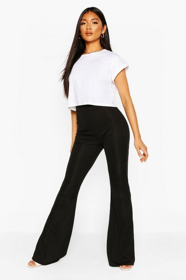 Black Recycled Rib Flare Trousers