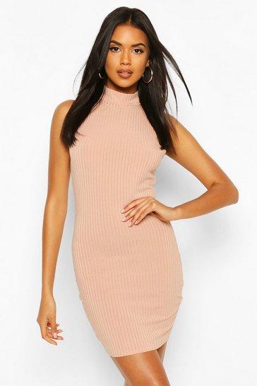 Tan Recycled High Neck Rib Mini Dress