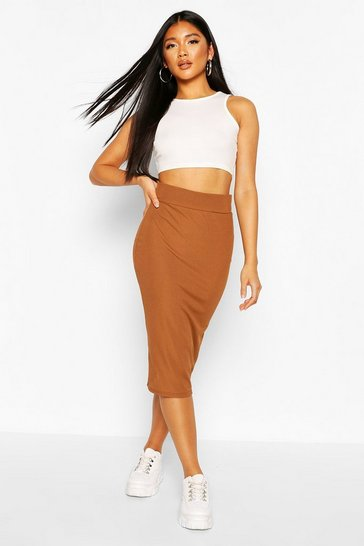 Brown Recycled Rib Midi Skirt