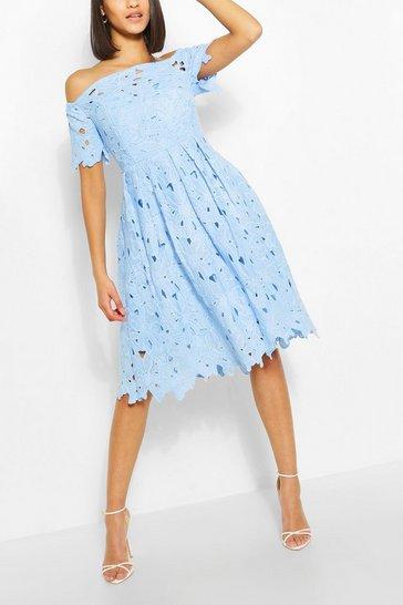 Pastel blue Boutique Off Shoulder Lace Skater Dress