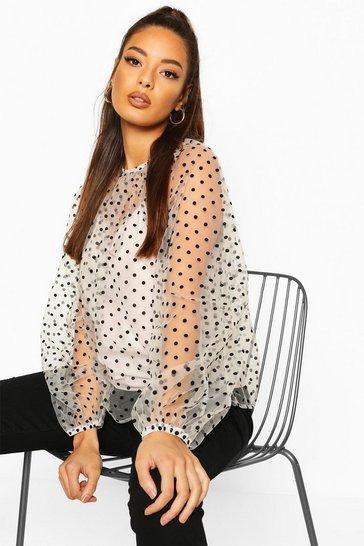 Ivory Polka Dot Mesh Oversized Blouse