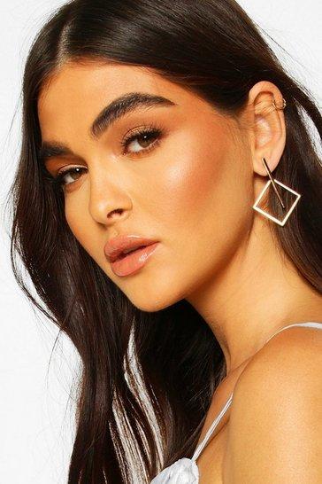 Gold Square & Bar Earrings