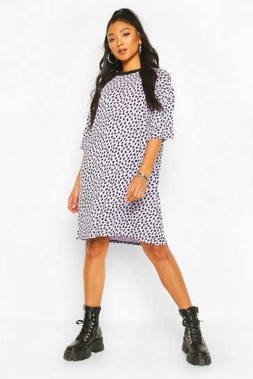 Lilac Dalmatian Print Oversized T-Shirt Dress