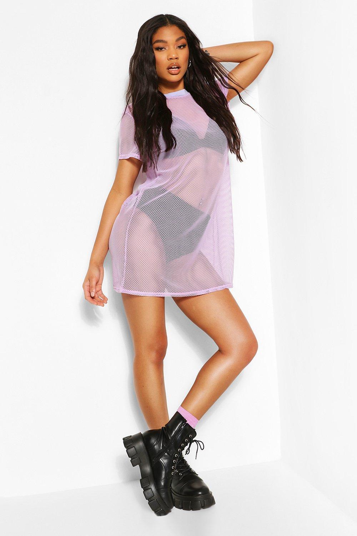 boohoo Womens Fish Net T-Shirt Dress - Purple - M, Purple